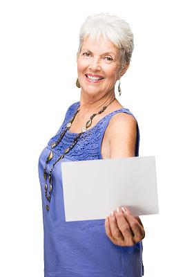 明信片,女人,白色背景,拿着,中老年人,拉丁文,中景,垂直画幅,美,留白