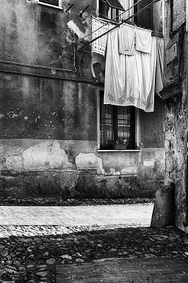 黑白图片,菲纳莱利古雷,垂直画幅,无人,户外,城市,图像,中世纪时代,巷,利古里亚大区