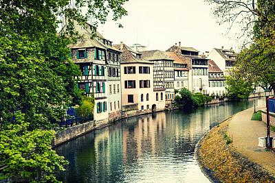 小法兰西,斯特拉斯堡,阿尔萨斯,水平画幅,无人,夏天,户外,都市风景,河流,法国