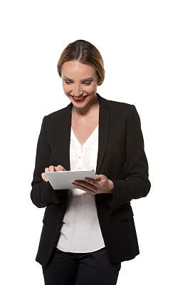 女人,平板电脑,分离着色,垂直画幅,留白,忙碌,休闲器具,套装,唇膏,仅成年人