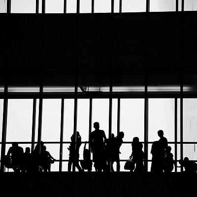 商务人士,办公室,未来,工作场所,会议,走廊,人群,商务会议,男商人,男性