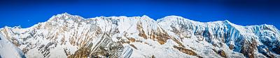 安纳普纳生态保护区,雪,月亮,尼泊尔,喜马拉雅山脉,全景,山顶,在上面,南安娜普纳峰群,serac