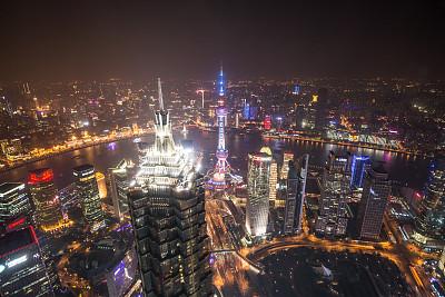 上海,世界金融中心,金茂大厦,上海环球金融中心,东方明珠塔,外滩,黄浦区,浦东,天空,水平画幅