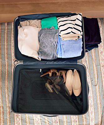 轻装上阵,手提箱,整洁的房间,垂直画幅,留白,折叠的,高视角,无人,周末活动,组物体