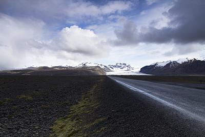 冰岛国,路,山脉,直的,正面视角,天空,水平画幅,山,无人,美人
