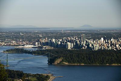 大不列颠哥伦比亚,城市,加拿大,温哥华,加拿大宫,狮门大桥,贝立德湾,史坦利公园,水湾,水