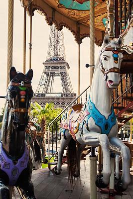 巴黎,学校宴会,游乐园,旅游嘉年华,游乐园设施,埃菲尔铁塔,战神玛尔斯公园,垂直画幅,纪念碑,古老的