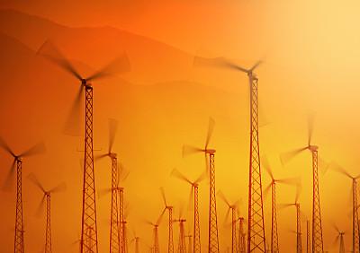 风轮机,天空,未来,风,气候,水平画幅,风力,能源,涡轮,组物体