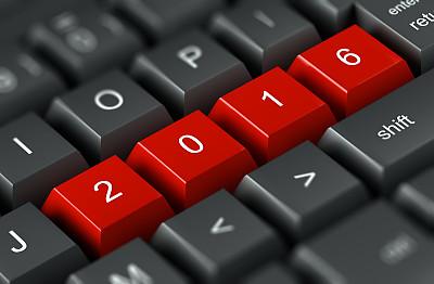 计算机键盘,台式个人电脑,2016,新的,水平画幅,消息,无人,历日,新年