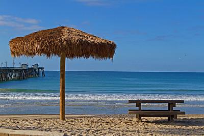 海滩,都市风光,圣克莱蒙特,海滩草棚,野餐桌,橘子郡,橘子县,自然,水,天空