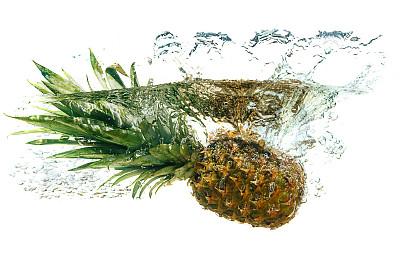 菠萝,饮用水,白色背景,分离着色,概念和主题,水,水平画幅,水果,无人,生食