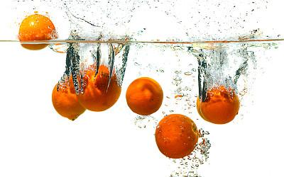 橙子,饮用水,桔子,分离着色,白色背景,水平画幅,食品,无人,生食,鸡尾酒