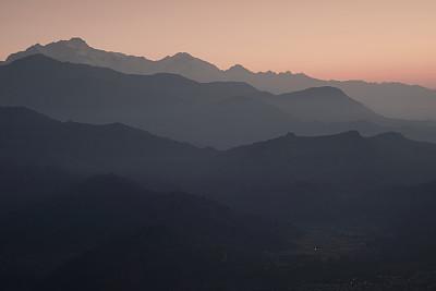 山,多层效果,鱼尾峰,博卡拉,甘达基,安纳普纳生态保护区,安娜普娜山脉群峰,水平画幅,无人,户外