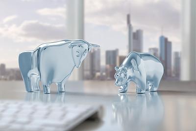 法兰克福,公牛,德国商业银行,股市和交易所,熊,全球财政,水平画幅,无人,符号,雕塑