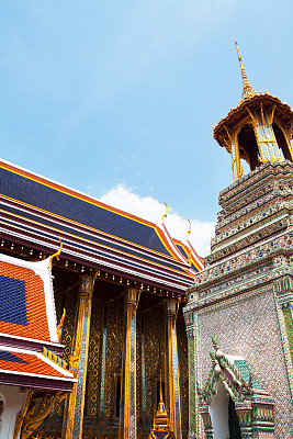 玉佛寺,宝塔,垂直画幅,天空,瓦,建筑,无人,泰国,曼谷,屋顶