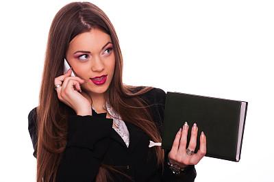 手机,女商人,直发,领导能力,彩妆,套装,经理,仅成年人,青年人,白色