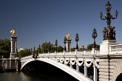 亚历山大三世桥,巴黎,新艺术主义,塞纳河,纪念碑,黄金,水平画幅,无人,户外,华丽的