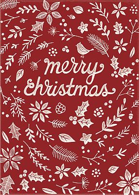 圣诞卡,凸版印刷,图像特效,冬青树,花环,猩猩木,绘画插图,边框,纹理效果
