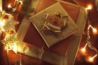 礼物,圣诞包装纸,选择对焦,牛皮纸,水平画幅,无人,新年,圣诞树,线绳