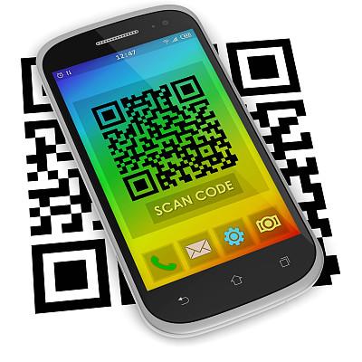 编码,二维码,形状,电话机,无人,便携式信息设备,电子记事本,白色背景,移动式,背景分离