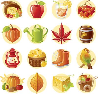 秋天,图标集,白昼,金翅雀,丰收的羊角,雨鞋,苹果酒,酸浆属,喷壶,暴风雨