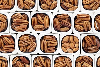 美洲山核桃,杏仁,塑料容器,并排,褐色,水平画幅,素食,无人,生食,组物体