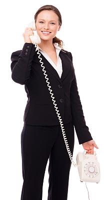 电话机,青年人,过时的,女商人,白色,垂直画幅,古董,注视镜头,古典式,套装