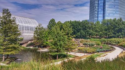俄克拉荷马城,沙漠绿洲,市区,摩天大楼,桥,从上面看过去,雕花玻璃杯,俄克拉荷马,水,天空