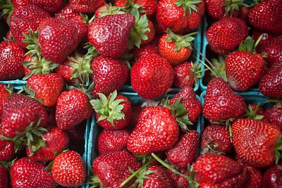 草莓,农业市集,红色,水平画幅,绿色,水果,无人,清新,图像,摄影
