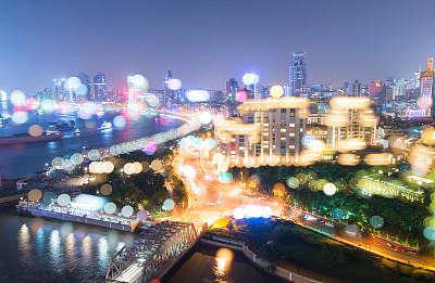 上海,陆家嘴,浦东,水平画幅,夜晚,无人,户外,滨水,都市风景,现代