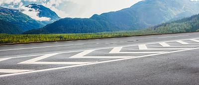 阿拉斯加,街道,高处,背景,空的路,自然,天空,美国,水平画幅,无人
