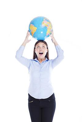 地球形,人的头部,留白,注视镜头,领导能力,半身像,仅成年人,全球通讯,全球商务,球体