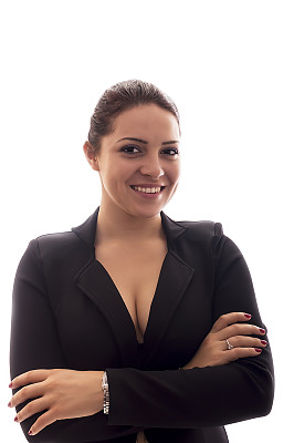 女商人,双臂交叉,白色背景,分离着色,垂直画幅,留白,领导能力,套装,经理