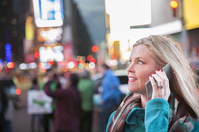 纽约,女人,手机,时代广场,曼哈顿时代广场,曼哈顿中心,在活动中,旅途,交通,技术
