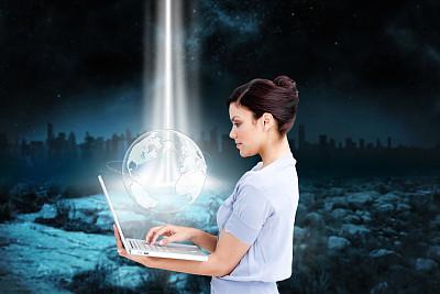 地球形,女商人,可爱的,使用手提电脑,插画,合成图像,笔记本电脑,水平画幅,智慧,计算机制图