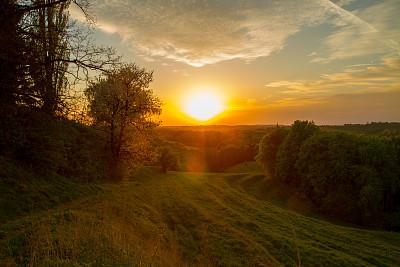 黄昏,日光,水平画幅,无人,户外,草,图像,树林,田地,逃避现实