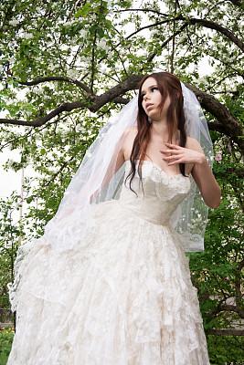 手置胸前,全身像,新娘,惊骇,野苹果树,海棠,垂直画幅,正面视角,不看镜头,仅成年人