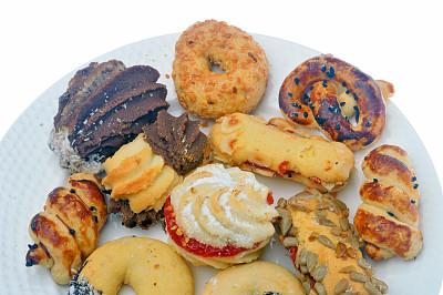 饼干,黑巧克力,水平画幅,水果,无人,开胃品,蛋糕,烘焙糕点,白色背景,蛋塔
