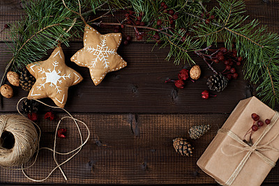 圣诞装饰,环境,圣诞礼物,科鲁湾,桌子,水平画幅,高视角,无人,干花