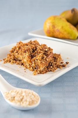 梨,面包屑,切片食物,碎纸,数字3,垂直画幅,甜点心,白色,清新,秋天