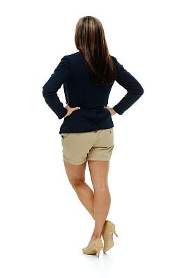 背面视角,女商人,两手叉腰,彩色运动茄克,垂直画幅,美,美人,高跟鞋,白人,不看镜头