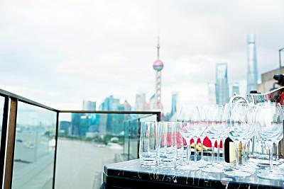 上海,金茂大厦,上海环球金融中心,东方明珠塔,浦东,葡萄酒,天空,留白,水平画幅,无人
