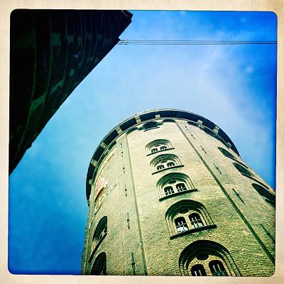 塔,圆形,天文台,哥本哈根,厄勒海峡地区,窗框,边框,无人,户外