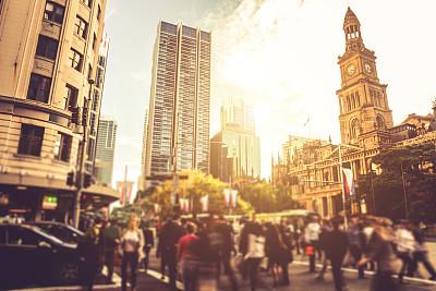 悉尼,交通,运动模糊,市区,移轴摄影,红绿灯,选择对焦,天空,通勤者,新南威尔士