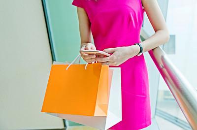 青年人,购物中心,女人,纸袋,留白,休闲活动,顾客,夏天,电子商务,仅成年人
