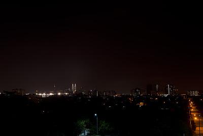 吉隆坡,夜晚,城市,双峰塔,天空,旅游目的地,水平画幅,建筑,无人,城市天际线