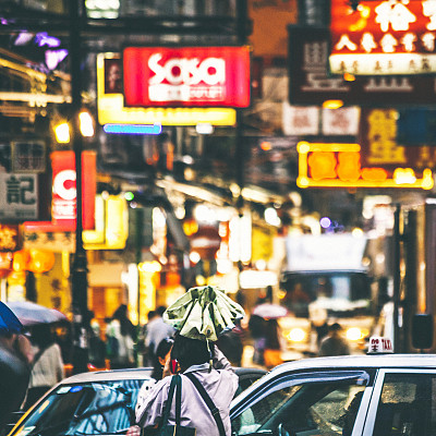 街道,拥挤的,夜晚,忙碌,交通,家庭生活,商店,户外,图像,前景聚焦