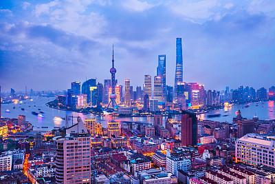 夜晚,都市风景,上海,浦东,天空,水平画幅,无人,户外,现代,高处