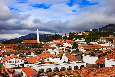 殖民地式,哥伦比亚,建筑,安地斯山脉,东科迪勒拉山脉,昆迪纳马尔卡,山形墙,停车场,南美,天空