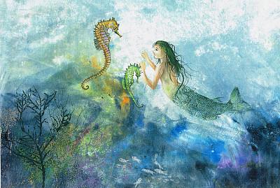 美人鱼,海马,新的,石帆珊瑚虫,水平画幅,绘画艺术品,蓝色,海洋生命